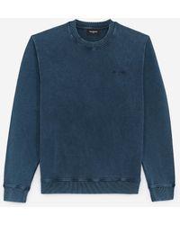 The Kooples Verwassen Blauwe Sweater Met Geborduurd Logo