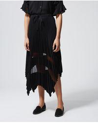 The Kooples Falda larga plisada negra con encaje - Multicolor