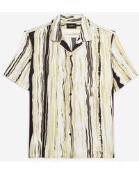 The Kooples Geel/zwart Gestreept Hemd Met Hawaïkraag - Meerkleurig