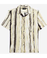 The Kooples Chemise col hawaïen jaune et noire rayée - Multicolore