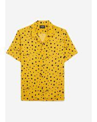 The Kooples Bedrucktes gelbes Hemd mit kurzen Ärmeln