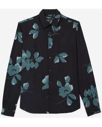 The Kooples Soepelvallend Zwart Hemd Met Bloemenprint - Meerkleurig