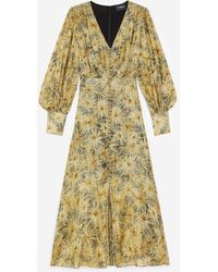The Kooples Buttoned Long Dress With Golden Print - Multicolour