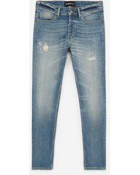 The Kooples Blauw Verwassen Jeans Met Destroyed Details