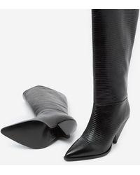 The Kooples Zwarte Laarzen Met Hak En Pythoneffect