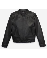 The Kooples Schwarze Lederjacke im Bikerstil
