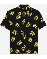 The Kooples Soepelvallend Zwart Hemd Met Gele Bloemen