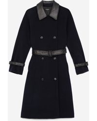 The Kooples Trench-style Navy Blue Wool Coat - Multicolour