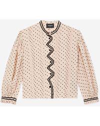 The Kooples Soepele Roze Top Met Stippen Fluwelen Details - Meerkleurig