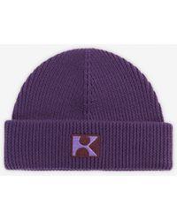 The Kooples Paarse Wollen Muts Met K-logo