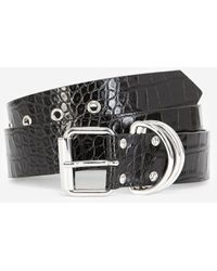 The Kooples Skinny Black Leather Belt With Rings - Multicolour