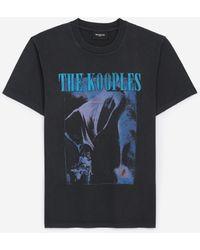 The Kooples Zwart Verwassen T-shirt Van Katoen Met Print