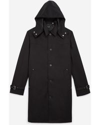 The Kooples Long Black Coat In Cotton With Hood