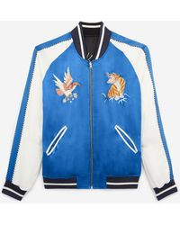The Kooples Wendbare blaue satinierte Jacke mit Stickerei