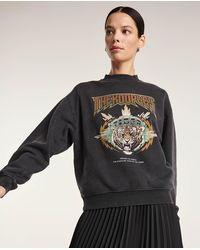 The Kooples Sweatshirt schwarz verwaschen mit Tigerprint - Mehrfarbig