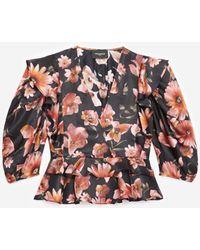 The Kooples Top negro volantes estampado floral - Multicolor