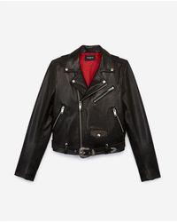 The Kooples Black Leather Jacket With Belt, Western