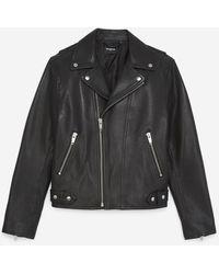 The Kooples Padded Black Leather Jacket