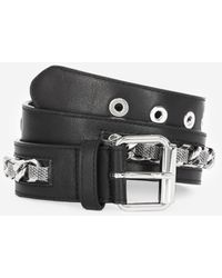 The Kooples Classic Leather Belt With Chain - Black
