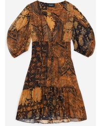 The Kooples Robe courte noire et orange imprimée - Multicolore