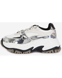 The Kooples Silver Platform Sneakers With Tweed - Metallic