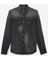 The Kooples Verwassen Grijs Spijkerhemd Westerndetails