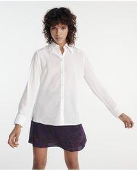The Kooples Wit Zijden Overhemd Kraag Met Knoopjes