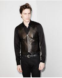The Kooples Zip Waistcoat In Grain Leather - Zwart