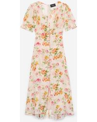 The Kooples Long Loose Dress With Floral Print - Multicolor