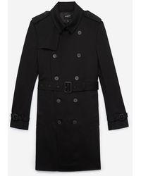 The Kooples Black Cotton Gabardine Trench Coat With Belt And Epaulets