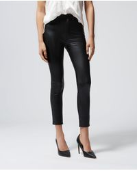 The Kooples Fitted Jean-style Black Leather Trousers - Blue