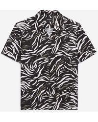 The Kooples Flowing Short-sleeved Shirt With Motif - Black