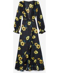 The Kooples Maxikleid aus Seide mit Dark Sunflowers-Print - Blau