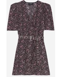 The Kooples Zwart/roze Wikkeljurk Met Print
