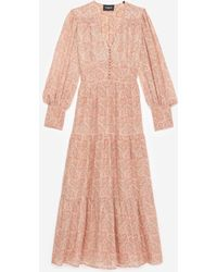 The Kooples Long Printed Dress With Pink Paisley Motif