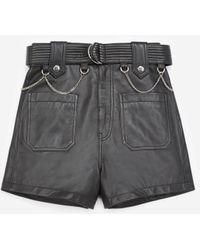 The Kooples Short noir cuir ceinture surpiquée