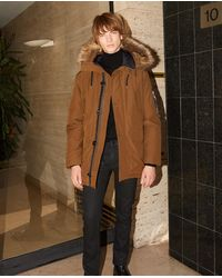 The Kooples Camel Parka With Faux Fur Hood - Natural