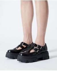 The Kooples Black Leather T-bar Shoes With Notched Sole