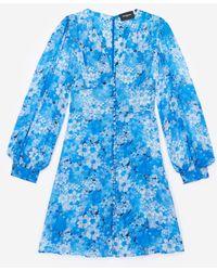The Kooples Robe courte bleue boutonnée à imprimé