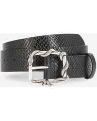 The Kooples Plain Black Leather Belt With Silver Buckle - Multicolour
