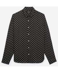 The Kooples Printed black cotton classic collar shirt - Schwarz