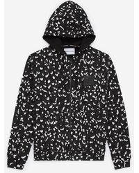 The Kooples Zwart-wit Sweatshirt Met Rits Luipaardprint