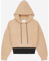 The Kooples Camelkleurige Sweater Met Zwart Logo-elastiek - Naturel