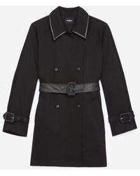 The Kooples Zwarte Katoenen Mantel In Trenchcoat-stijl