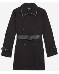 The Kooples Black Cotton Trench Coat