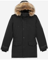 The Kooples Long Black Parka With Leather Detail