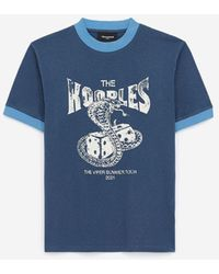 The Kooples Blue Cotton T-shirt With White Snake Motif
