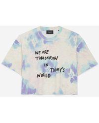 The Kooples Printed Cotton T-shirt W/tie-dye Effect - Blue