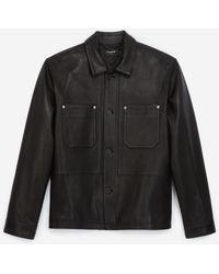The Kooples Lederjacke schwarz Jackenhemd