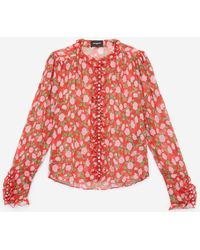 65fa6737eb9d67 The Kooples - Floaty Viscose Top With Colourful Pattern - Lyst